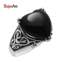 Szjinao 100% 925 Sterling Silver Jewelry Victoria Black Agate Rings 925 Sterling Silver Rings for Women Free Gift Box