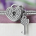 Authentic 925 Sterling Silver bead Charm heart KEY and LOCK Crystal Pendant Beads Fit Pandora Bracelets & Bangles Jewelry