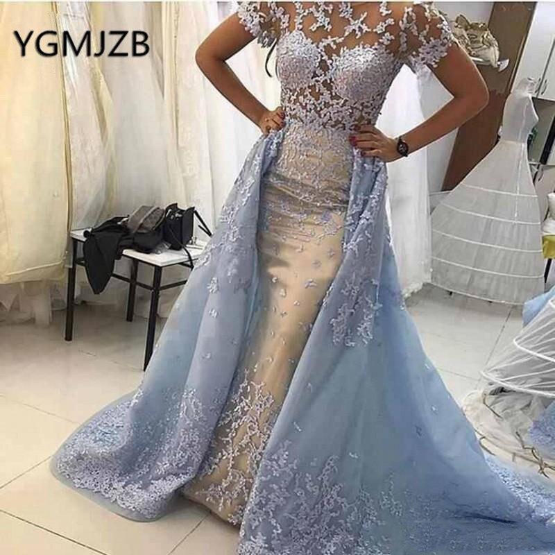 Longues robes de bal sirène avec Train détachable à manches courtes Appliques dentelle arabie saoudite femmes robe de soirée formelle gala jurken