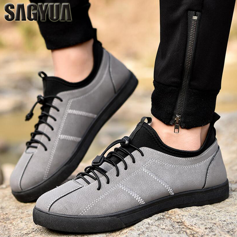 SAGYUA Trendy Male Men Fashion Casual Hombre British Style Virile Walk Travel Work Leisure Elastic Flat Board Zapatos Shoes T285