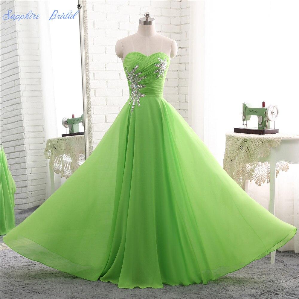 Saphir mariée 2018 vert pomme une ligne robes de soirée chérie robe de soirée à lacets grande taille
