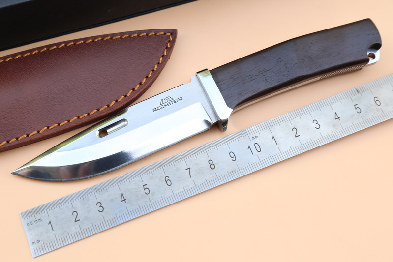 JUFULE OEM ROCKSTEAD fixed blade DC53 Blade Leather Sheath font b hunting b font straight camp