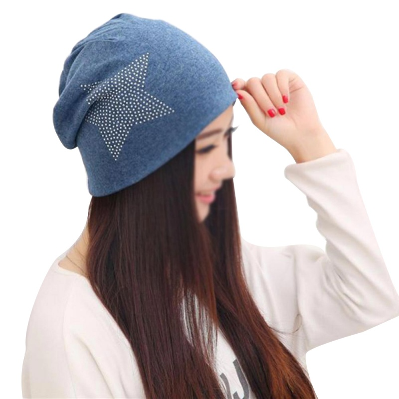 Autumn Winter For Women Knitted Hats Bronzing Stars Fashion Casual Cap Caps High Elasticity Female Skullies Cotton Girl Hat female caps for autumn
