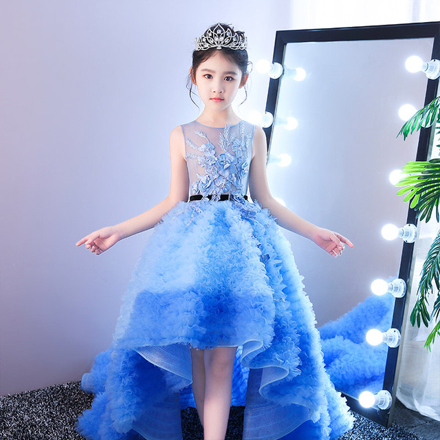 Blue Royal Princess Dress Long Tailling Ball Gown Flower Dresses Wedding Kids Pageant Birthday