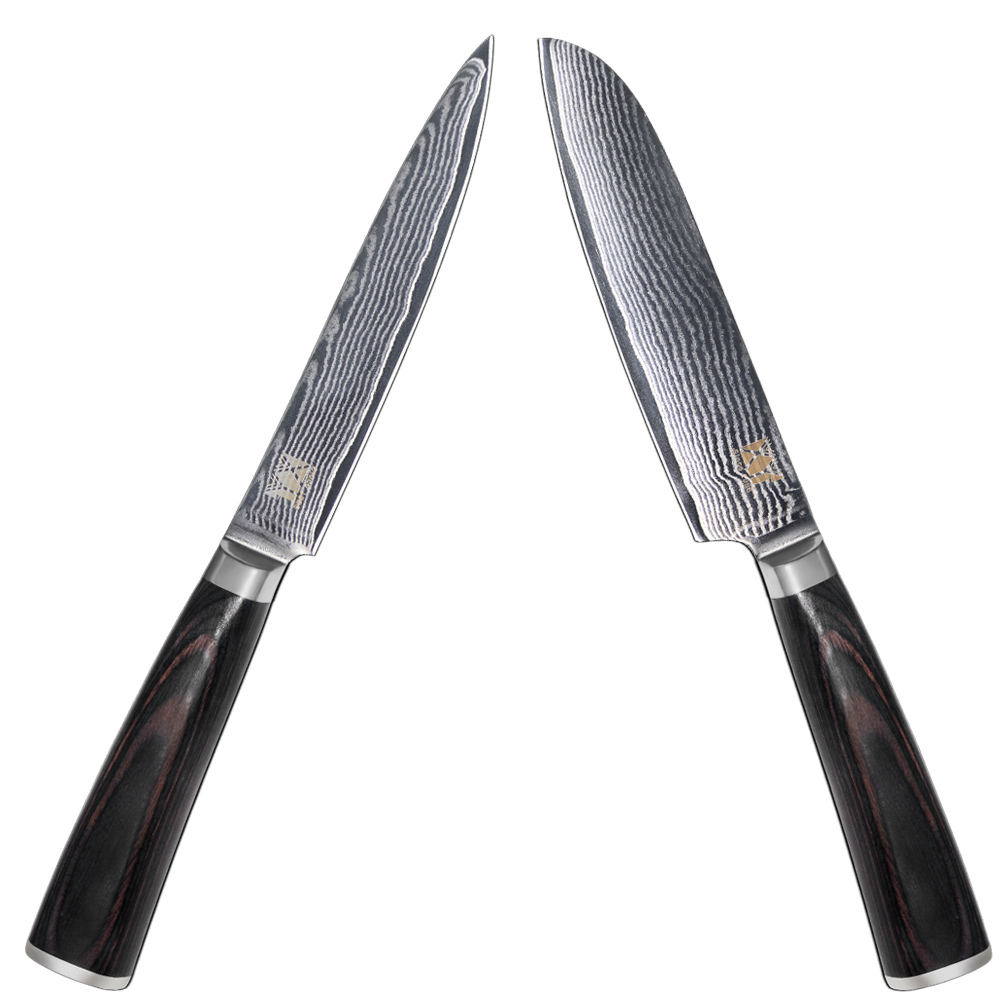 67 Layers 5 Inch Santoku 5 Inch Utility Knife Japanese Damascus Steel Knfie Color Wood Handle