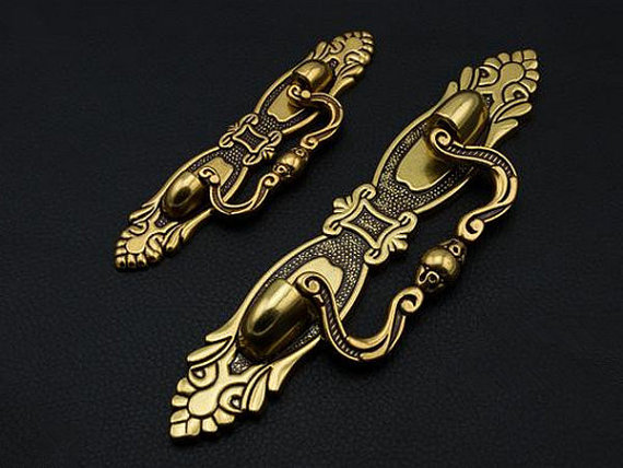 2.5 3.75 Dresser Drawer Pulls Handles Knobs Gold Red Ornate Cabinet Pull Handles Decorative Furniture Handle Hardware 64 96 mm dresser knob drawer pull knobs gold kitchen cabinet knobs door handle pull furniture hardware 64 96 128 mm