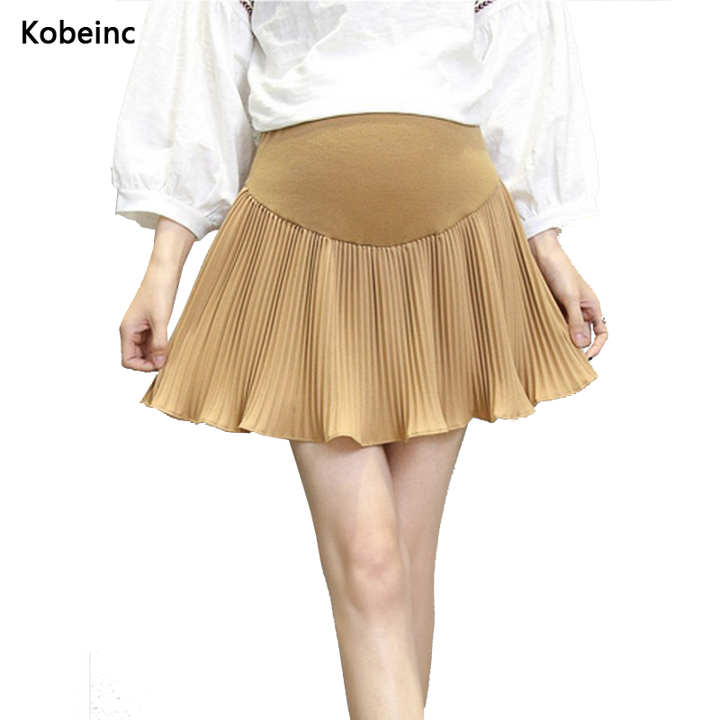Solid Color Maternity Skirts Fashion Pleated Care Belly ...