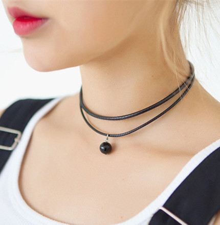 3285b2767 Double String Black Choker Necklace Pearl Punk Style Simple Collar Pendant  necklace for Man Women-in Choker Necklaces from Jewelry   Accessories on ...