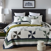 American Patchwork Coverlet Set 3PCS Washed Cotton Quilt Bedspread Bed Cover Sheets Sofa Blanket Pillowcase Quilts King Size