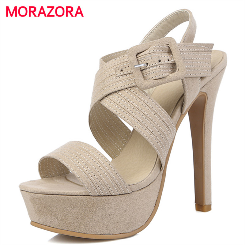 MORAZORA Large size 34-46 shoes woman in summer flock buckle solid thin heels shoes platform wedding party shoes women sandals