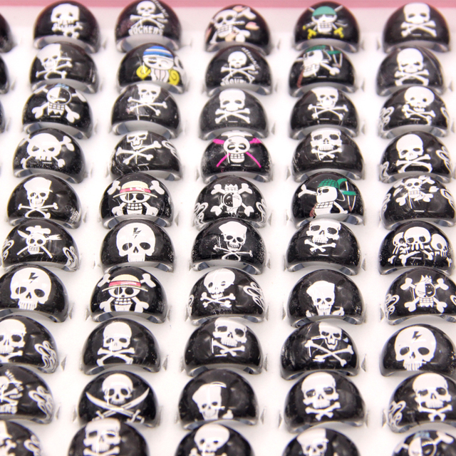 US $9 87 |Wholesale Lots 100pcs Lovely Punk Cartoon Pirate Skeleton  Kids/Children Resin Acrylic Lucite Rings Cheap Jewelry Free Shipping-in  Rings from