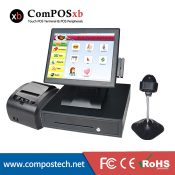 """stock cheaper pos system 15"""" Resistance touch screen all in one epos terminal"""