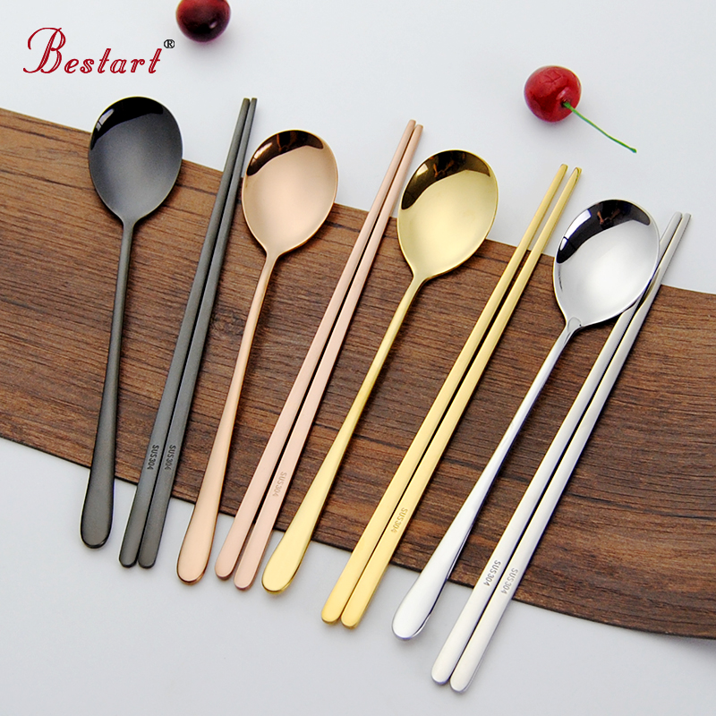 Gull 18/10 Koreansk Stainless Steel Food Spisepinner Spoon Set Long Handle Flat Non-slip Spisepinner Dessert Skjeer Dinnerware Set