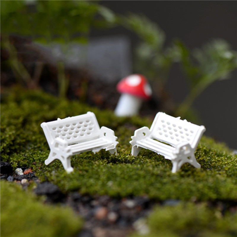 New 2Pcs White Chair Doll House Miniatures Lovely Cute Fairy Garden Gnome Moss Terrarium Decor Crafts Bonsai DIY