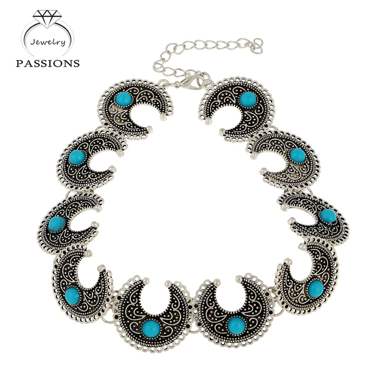 New Fashion Bohemian Choker Necklace Charm Vintage TurquoiseMaxi Necklaces PendantsJewelry font b Accessory b font Chokers