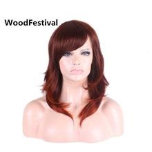 reddish brown wig heat resistant synthetic wigs straight hair wigs for black women medium wig 50cm WoodFestival stylish medium layered capless straight black browm mixed synthetic wig for women