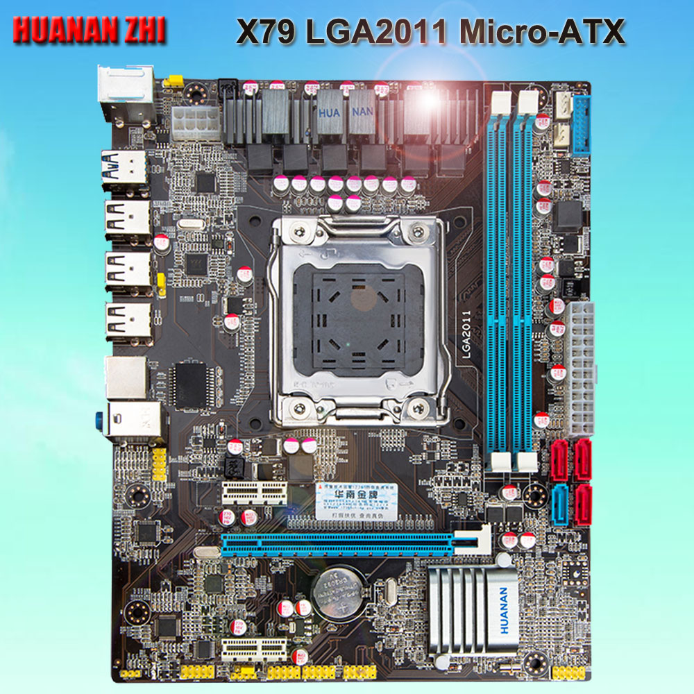 Buena computadora descuento fuente placa madre HUANAN ZHI X79 motherboard X79 LGA2011 micro-atx Placa base con SATA3.0 Puerto probado