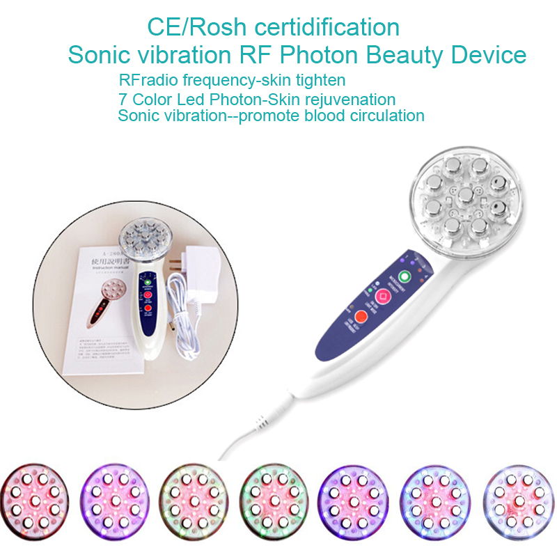 7 Color Led Photon Skin Rejuvenation Microcurrent Face Lift And Body Slimming RF Sonic Vibration Beauty Massager portable home use led photon blue green yellow red light therapy beauty device for face and body skin rejuvenation firming