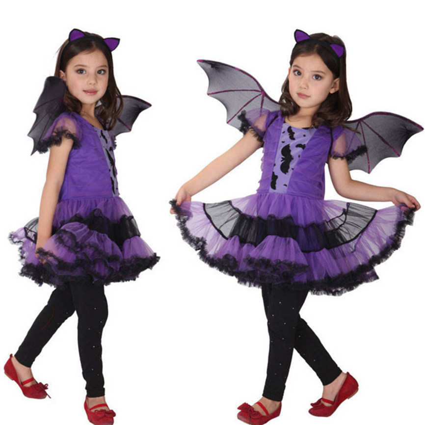 2018 New Toddler Baby Activities Halloween Clothes Costume Dress+Hair Hoop+Bat Wing Outfit Costumes For Kids Dropshipping 0111