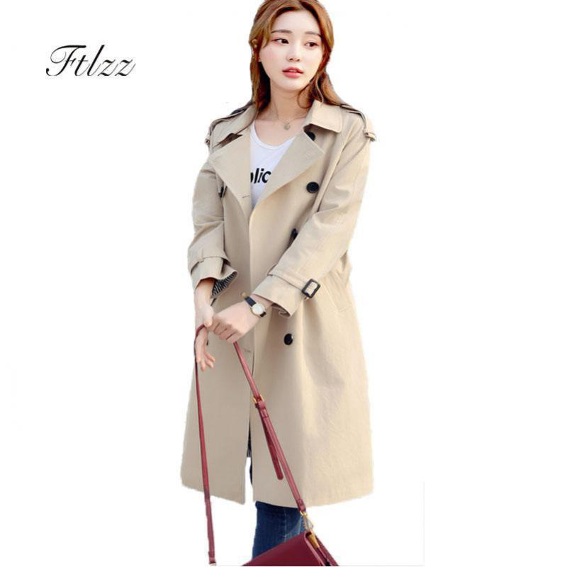 2019 New Women Long   Trench   Coat Fashion Long Sleeved Double-breasted Vintage Spring Autumn Outerwear Elegant Ladies Windbreaker