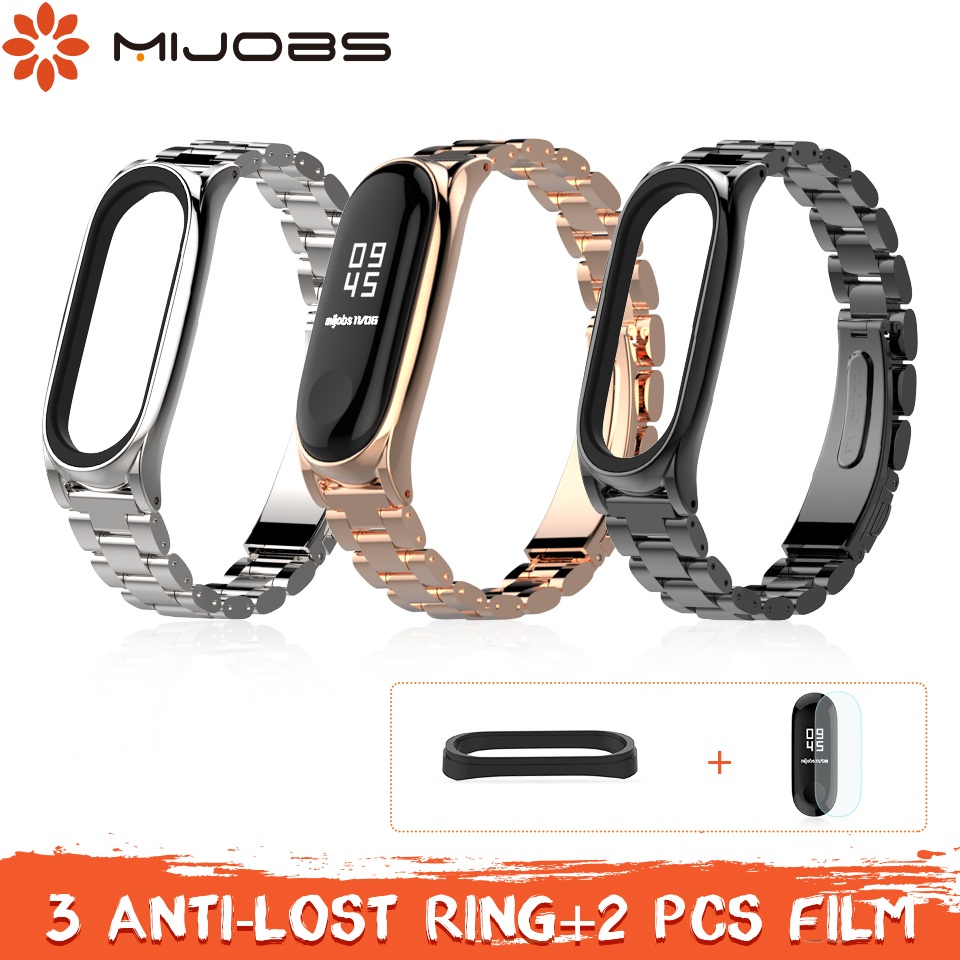 где купить Mijobs Mi band 3 Strap Metal Bracelet for Xiaomi Mi Band 3 Strap Correa Smart Watch Bracelet Stainless Steel Miband 3 Strap дешево