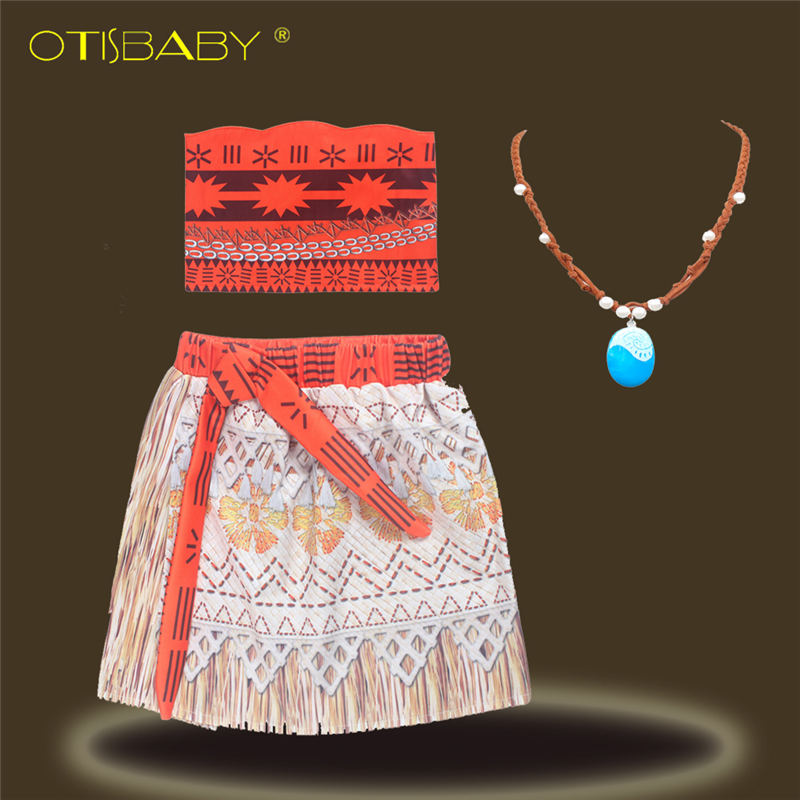 Girls Moana Clothing Sets Necklace Kids Elastic band Tube Top + Tutu Skirt Cosplay Costumes for Carnival Party Child Clothes blue leather look skater skirt with elastic band