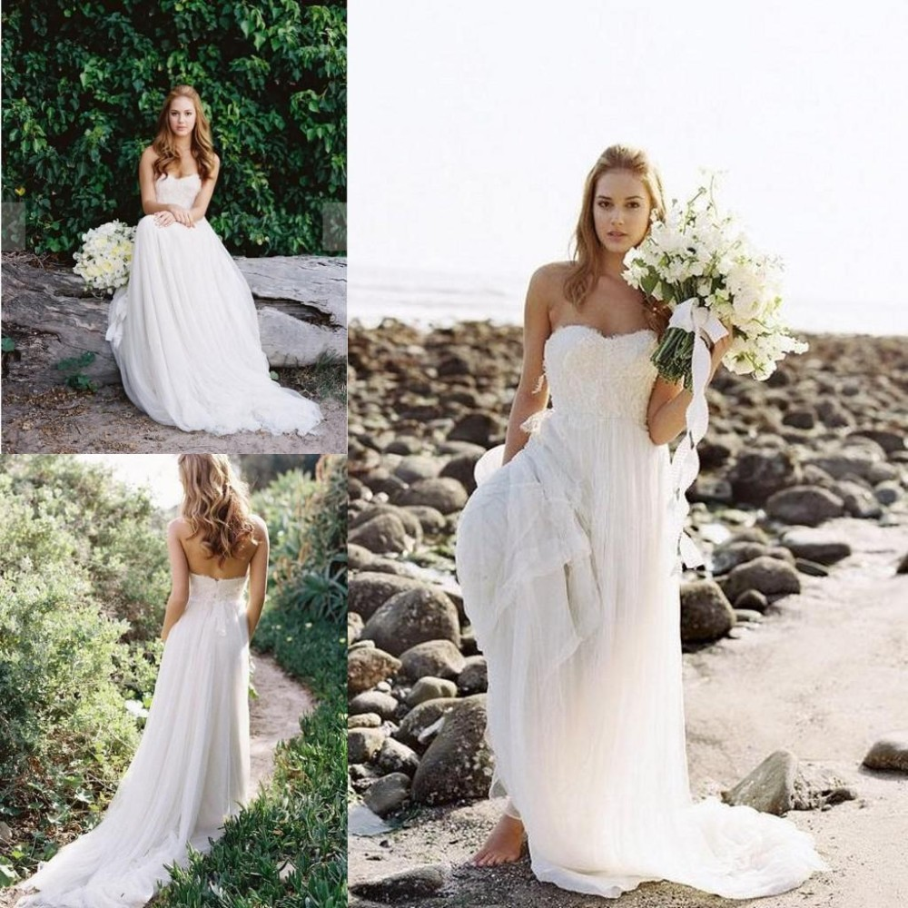 2018 vestido de noiva Elegant Beach Lace Strapless A-line Sweep Train Tulle Ivory Pageant Custom Bridal Gown   bridesmaid     dresses