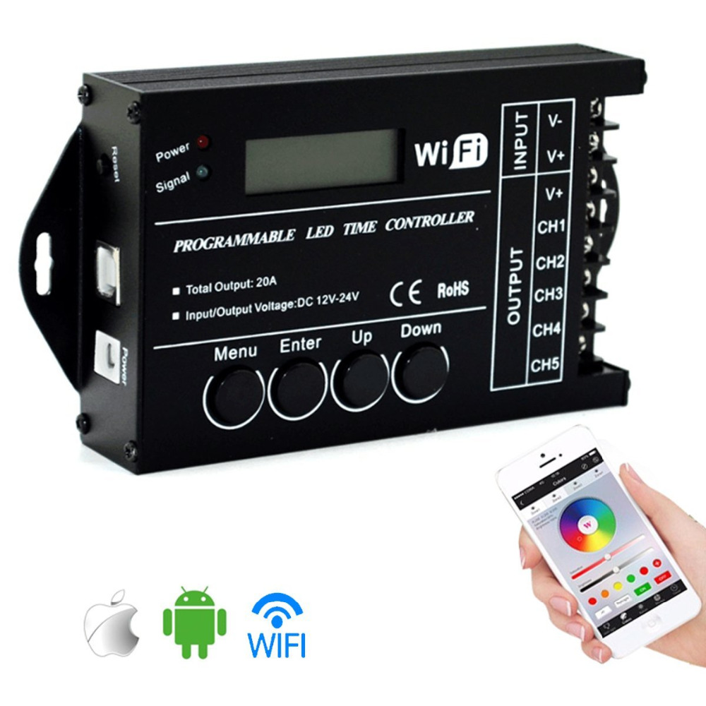 TC420 TC421 TC423 LED Time WIFI Controller DC12V/24V 5Channel Total Output 20A Common Anode For LED Lights