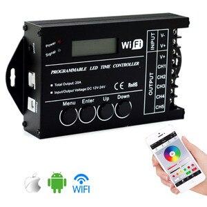 Image 1 - TC420 TC421 TC423 светодиодный контроллер времени Wi Fi 12 В/24 В постоянного тока, 5 каналов, общая выходная мощность 20 А, общий анод светодиодный светодиодных фонарей