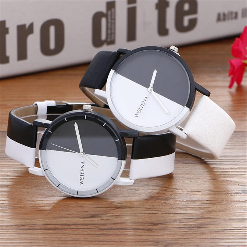 OTOKY Wristwatch Neutral Black And White Pattern Fashion Simple Buckle Watch Leather Quartz Wrist Watch Women 2018JUL5