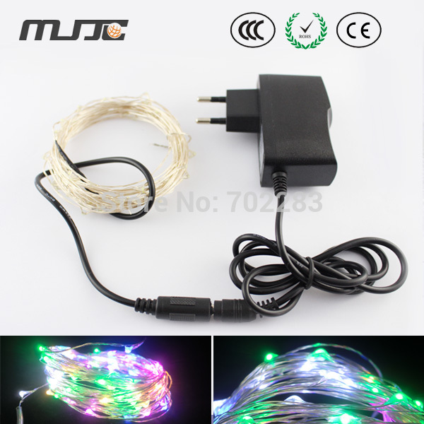 copper wire 5m 164ft 50leds starry decorative string light 12v dc for christmas tree with 12v power adapter in holiday lighting from lights lighting on