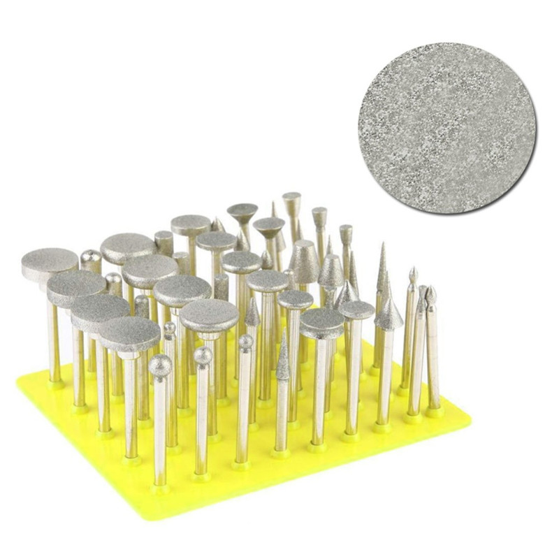 все цены на 50Pcs/set Dremel Accessories Diamond Grinding Heads Sanding Needles Coated Grinding Rod 3mm Burrs Bur Bit for Dremel Rotary Tool онлайн
