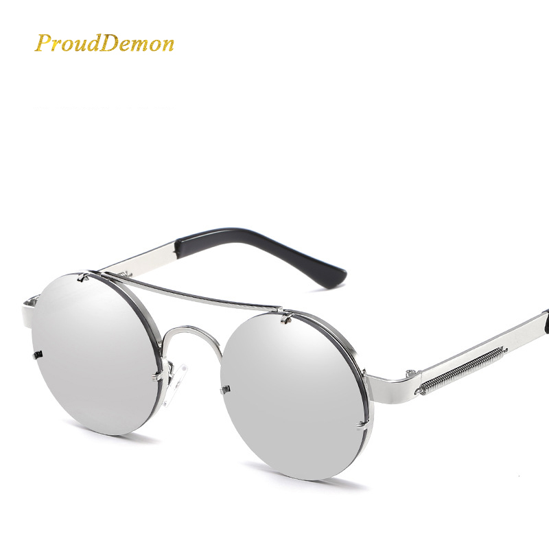 Prouddemon New Retro Round Steampunk Sunglasses Women Luxury Popular Metal Spring Sun Glasses For Men Big Mirror Lens Oculos in Women 39 s Sunglasses from Apparel Accessories