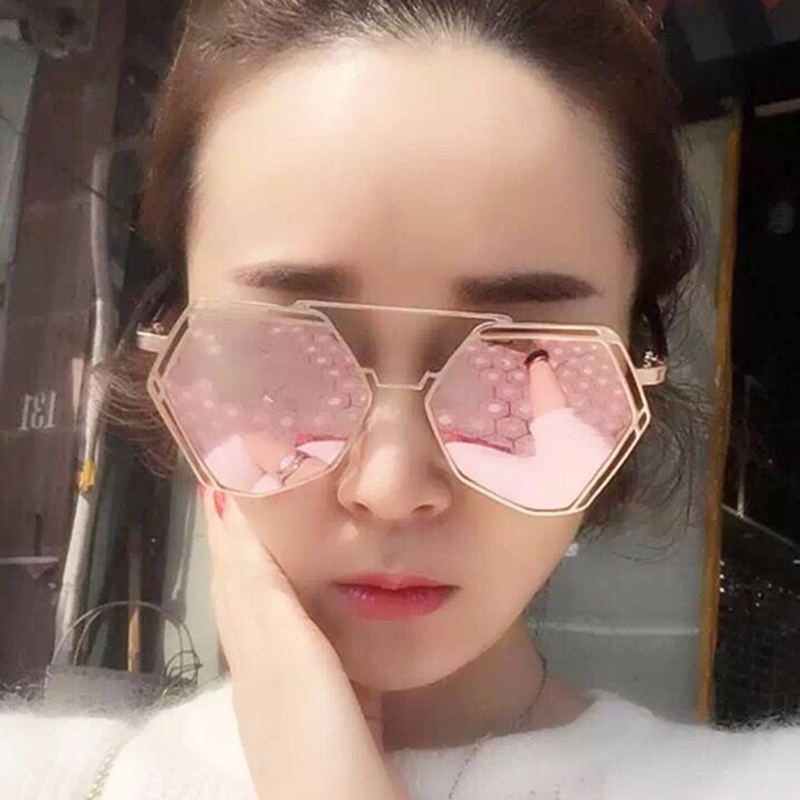 67fd342a028 Aimade Fashion Oversize Hollow Hexagon Sunglasses For Women Unique Twin  Beams Metal Frame Female Big Mirror Sun Glasses UV400-in Sunglasses from  Women s ...