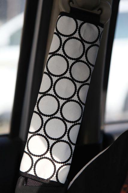 Personalizada lienzo de tela de lunares de algodón asiento Auto del cinturón de seguridad cubre decoración del coche 2 unids - blanco