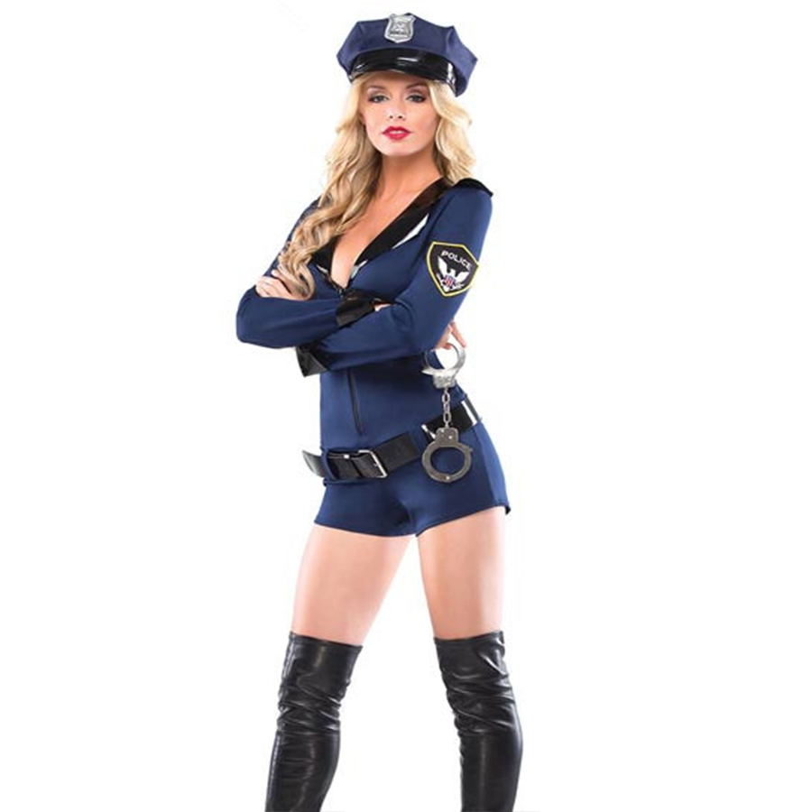 Girls Policewoman Fancy Dress Costume Halloween Outfit Party Cops Officer