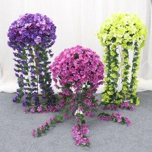 Image 5 - 40Cm Party Wedding Decor Smeedijzeren Weg Gids Kunstmatige Bloem Wijnstok Hortensia Rotan Wisteria Bloemen Bal Tafel Centerpieces