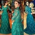 Vestidos de baile de cuello alto manga larga hunter dress 2017 nueva llegada formal largo de noche de encaje verde vestidos de fiesta árabe