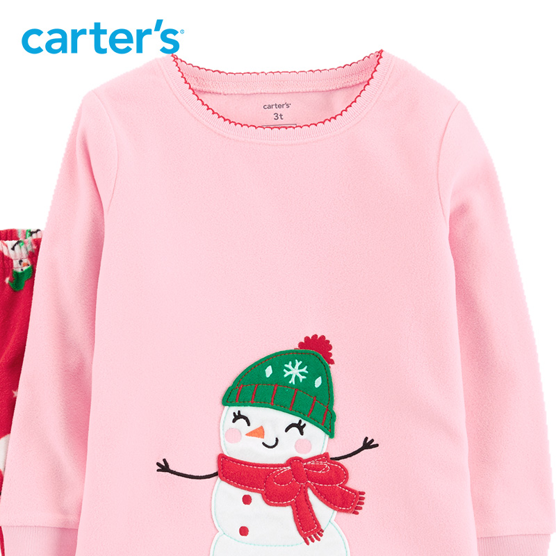 c6c611fa4f Carters 2 Pcs Christmas Snowman Fleece PJs cute long sleeve pullovers pants  girls clothes set autumn winter kid clothes 24071216-in Clothing Sets from  ...