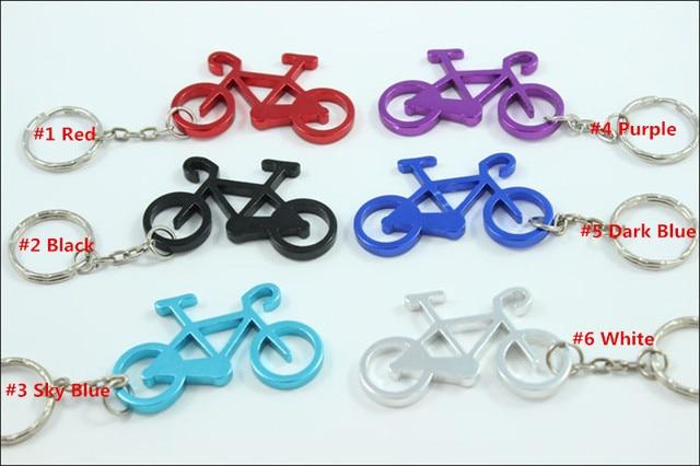 300 unids/lote botella de aluminio en forma de bicicleta deportiva llaveros abrelatas, anillo abridor de cerveza de bicicleta. Regalo de Promoción