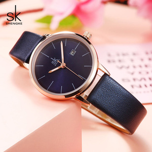 Image 2 - Shengke Fashion New Women Watches Bright Leather Strap Wrist Watch Reloj Mujer 2019 Ladies Quartz Watch Clock Montre Femme#9715
