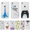Для iPhone 7 7 Plus 6 6 S Плюс 5 5S SE Ясно Кремния Case Ультра Тонкий Гибкий Задняя Крышка ТПУ w Париж Башня Мультфильм Cat единорог
