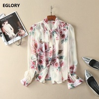 New 2018 Spring Summer Blouses Ladies Bow Collar Rose Floral Print Long Sleeve Silk Chiffon Blouses