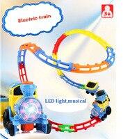 LED Musical DIY Utwór Pociąg Pociąg Elektryczny z Pociągi Utworów Muzyki Rozrywkowej Railroad Diecast Klocki Klocki dla Dzieci