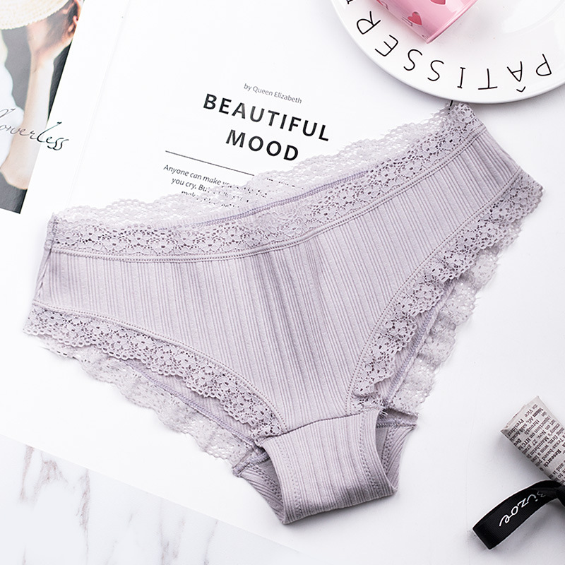 f4a164a01 2018 Women Panties Cotton Lace Briefs Sexy Low rise Seamless Striped  Underwear Breathable Black Lingerie Intimates on Aliexpress.com
