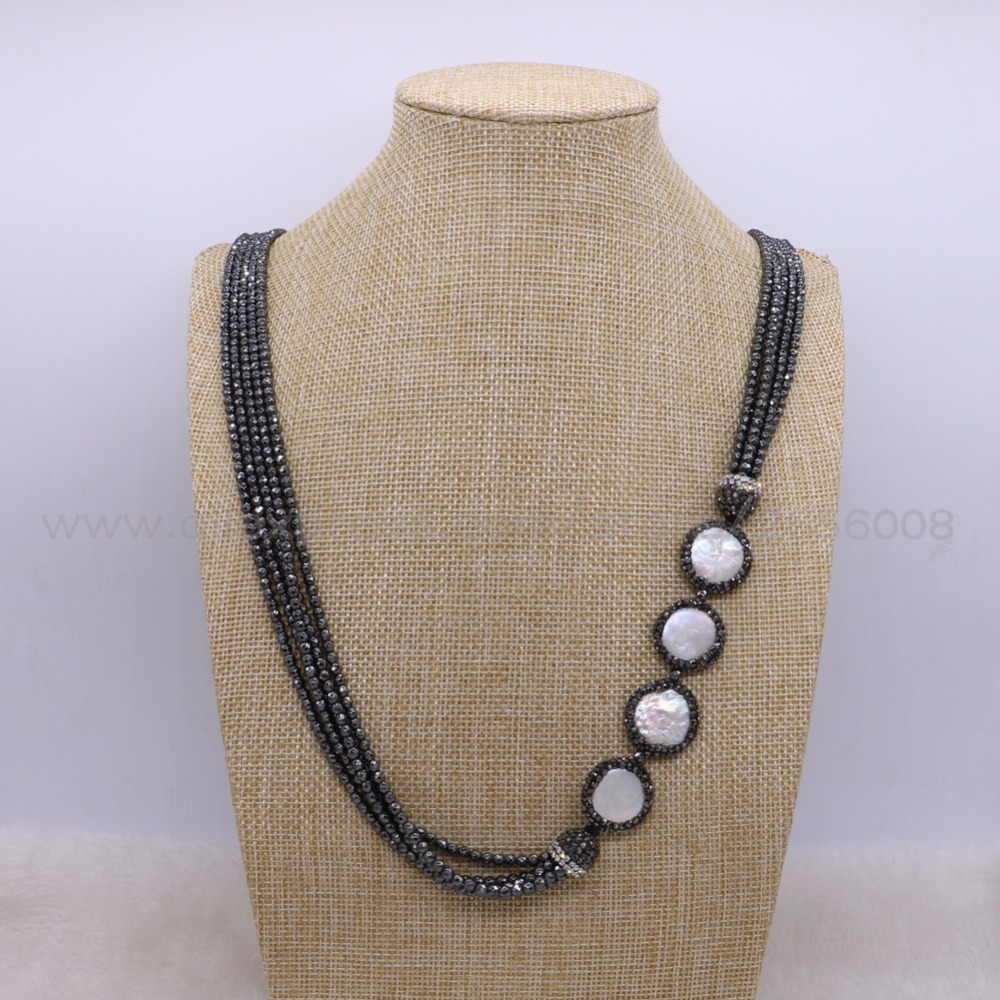 Fashion Layer hematite necklace with long pearls long necklace High quality  fashion jewelry for lady gift 2722-in Chain Necklaces from Jewelry    Accessories ... 3944ffc31fdb