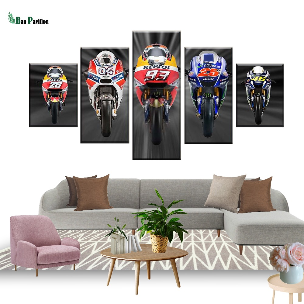 Modular Paintings Canvas Wall Art Home Decoration Pictures 5 Pieces Cross Country Motorcycle Modern HD Printed Poster Framework in Painting Calligraphy from Home Garden