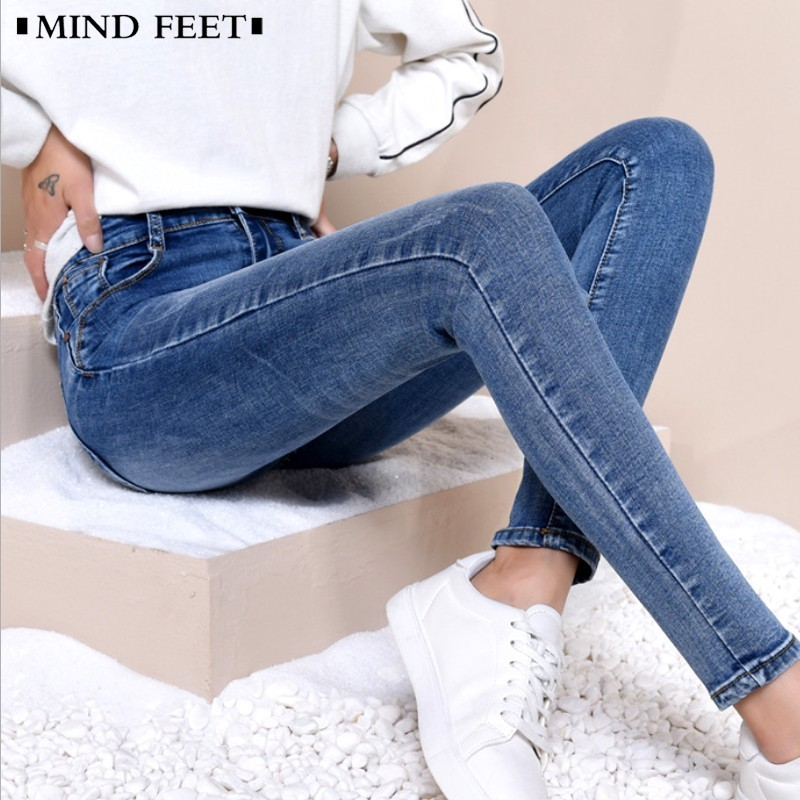 MIND FEET Women Skinny   Jeans   Thin Pencil Denim Pants Elastic Push Up Hips Leggings Lady Slim Trousers Summer Spring Plus Size