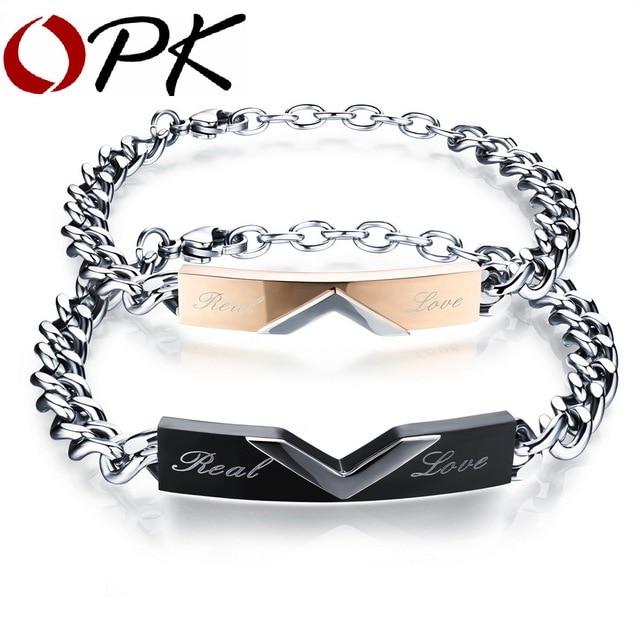 OPK Couple Chain Link Bracelets Romantic Real Love BlackRose Gold