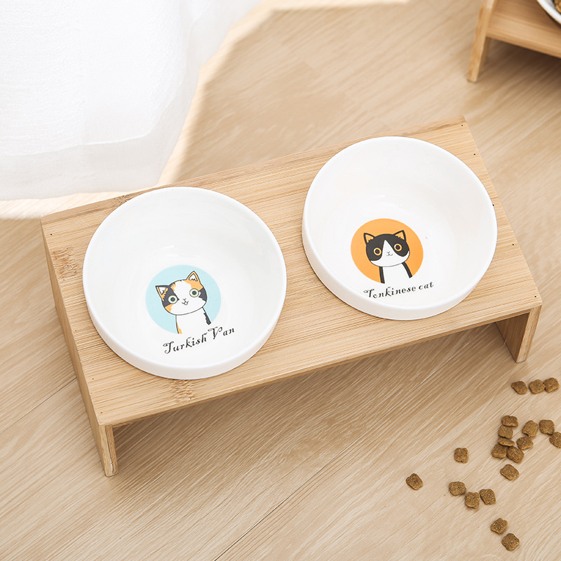Ceramic Cat Bowl Cat Food Bowl Cat Food Bamboo Bowl Double Bowl Water Suit Kitty Pet Supplies Table Cute Dog Water Bowl